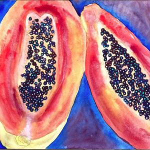 Mexican Papaya Original Watercolor