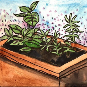 Mint and Savory Original Watercolor